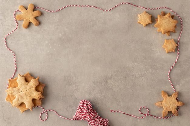 Вид сверху вкусного печенья с копией пространства Бесплатные Фотографии