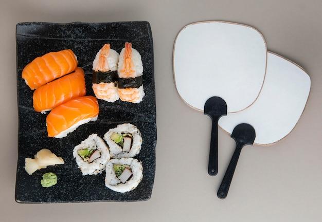 美味しいお寿司のコンセプトのトップビュー 無料写真