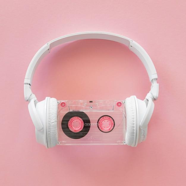Вид сверху музыкальной концепции наушников Бесплатные Фотографии