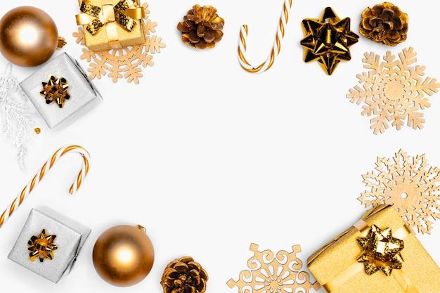 エレガントなクリスマスコンセプトの上面図 無料写真