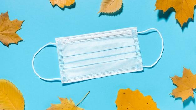 의료 마스크와 단풍의 상위 뷰 무료 사진