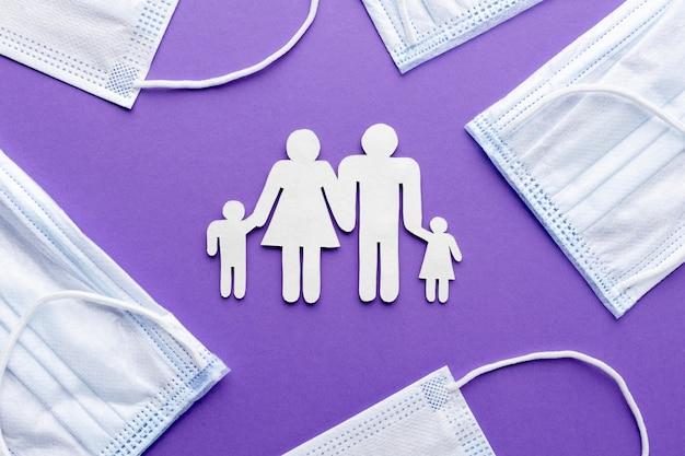 의료 마스크와 종이로 만든 가족의 상위 뷰 무료 사진