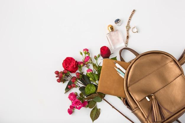 バッグの女性のプロパティの平面図です。 無料写真