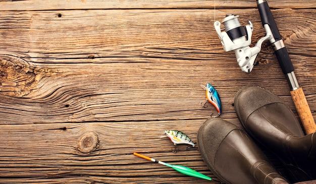 コピースペースと釣りの必需品のトップビュー 無料写真