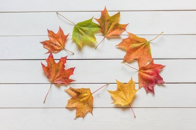 Вид сверху кадра из разноцветных опавших листьев на деревянном фоне Premium Фотографии