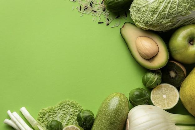 Вид сверху зеленых овощей с копией пространства Бесплатные Фотографии