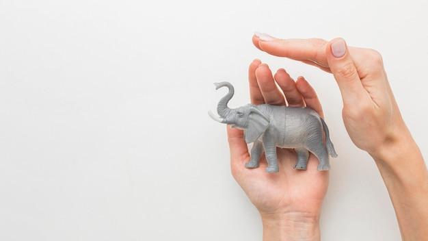 Вид сверху на руки, защищающие фигурку слона на день животных Бесплатные Фотографии