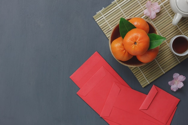 Top View Of Items For Chinese Happy New Year Concept Background