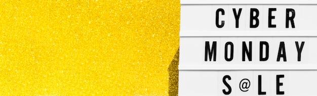 Вид сверху светового короба для киберпонедельника с золотым блеском и копией пространства Premium Фотографии