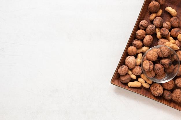 Вид сверху концепции орехов с копией пространства Бесплатные Фотографии