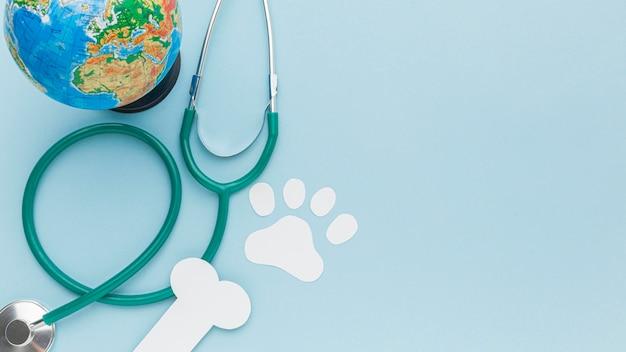 動物の日の紙の足跡と骨の聴診器と惑星地球の平面図 無料写真