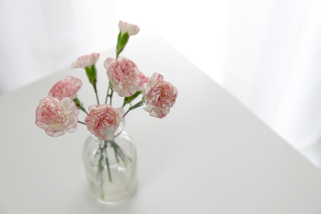 Top view of pink and white carnation flowers vase on white table in Flower Vase Top View on umbrella top view, desk top view, tree top view, couch top view, table top view, plate top view, sculpture top view, rug top view, bedroom top view, spoon top view, apple top view, box top view, plant top view, rose top view, stool top view,