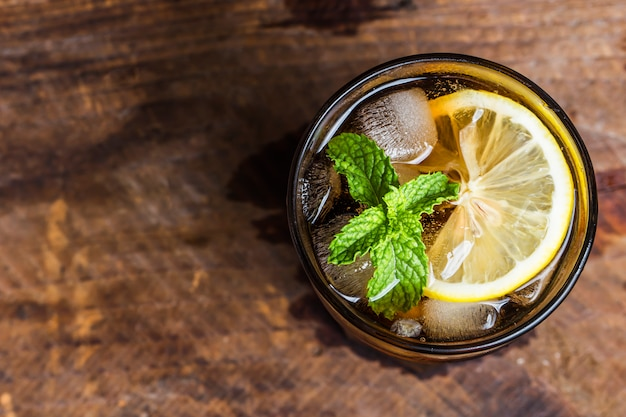 Top view of soda with mint Free Photo