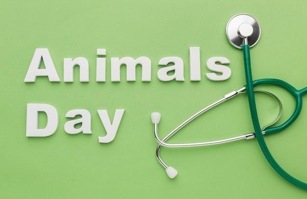 動物の日のための聴診器のトップビュー 無料写真