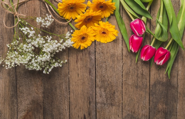 Top view of table with different types of flowers Free Photo