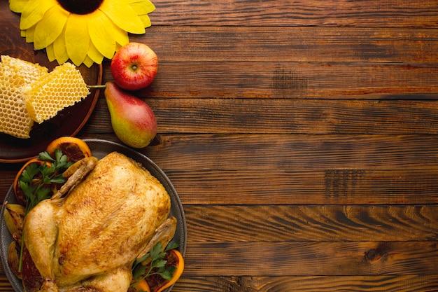 Вид сверху концепции благодарения с копией пространства Premium Фотографии