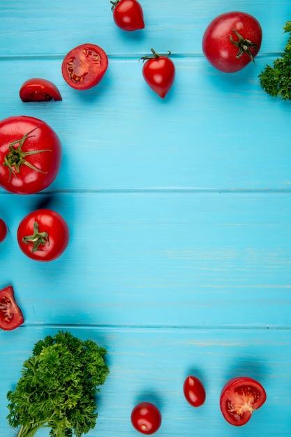 Вид сверху помидоры и кориандр на синей поверхности с копией пространства Бесплатные Фотографии