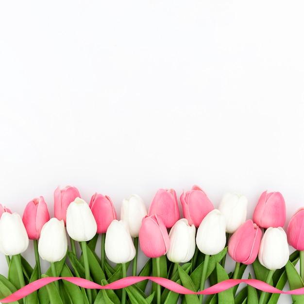 Вид сверху тюльпанов с копией пространства Бесплатные Фотографии
