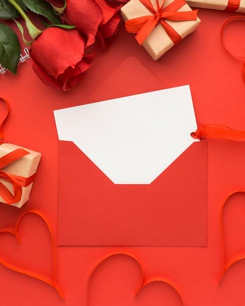 Вид сверху концепции дня святого валентина с копией пространства Premium Фотографии