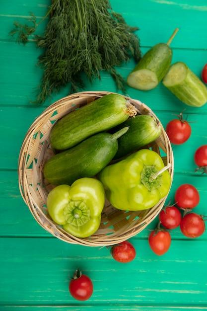 キュウリと唐辛子として野菜の平面図 無料写真