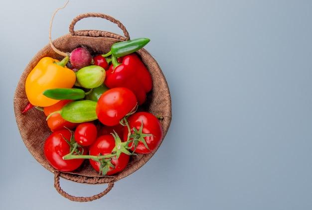 Взгляд сверху овощей как редиска томата перца в корзине на левой стороне и голубой предпосылке с космосом экземпляра Бесплатные Фотографии