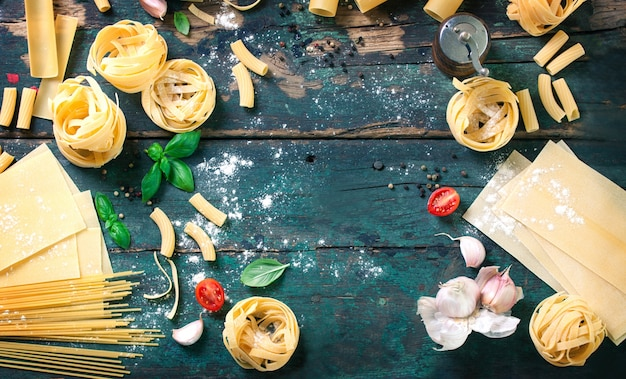 Top View Of Wooden Table With Variety Of Pasta Photo Free Download