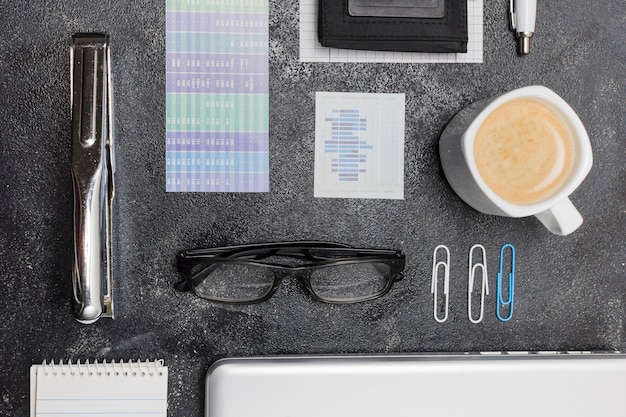 Top view office material on a table Free Photo