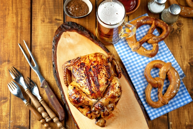 Top view of oktoberfest background with traditional bavarian food Premium Photo