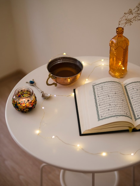 Top view of opened quran on table Free Photo
