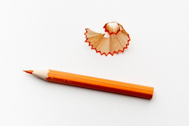 Top view of orange pencil Premium Photo
