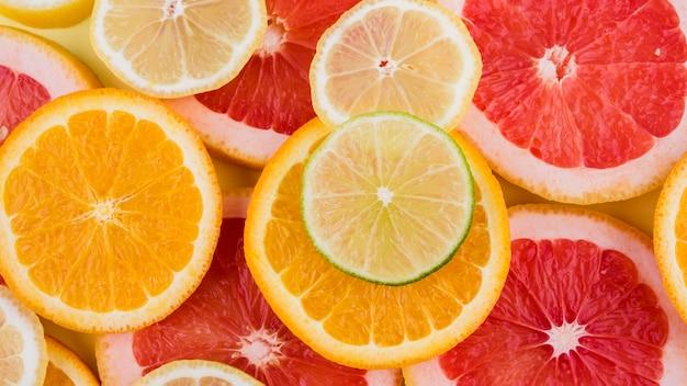 Top view organic orange slices Free Photo
