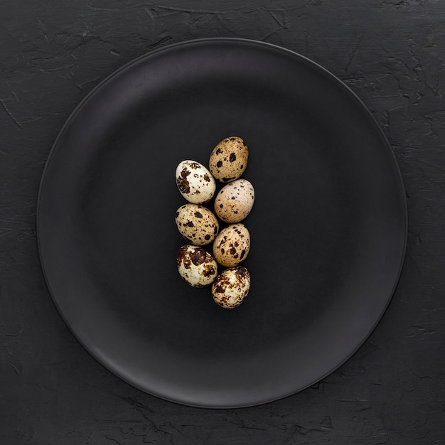 Top view organic quail eggs on a plate Free Photo