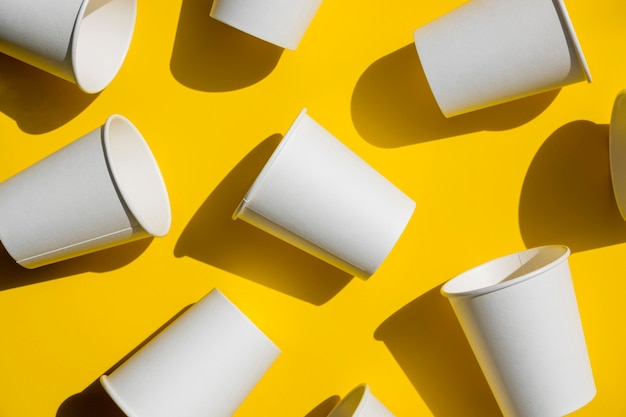 Top view paper coffee cups Premium Photo