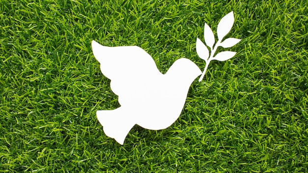 Top view of paper dove on grass Free Photo