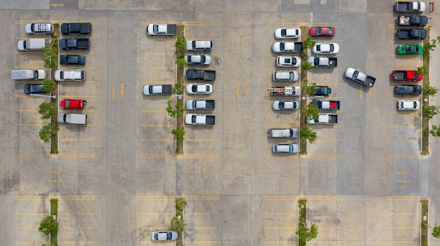 The top view of the parking lot taken with the drones Premium Photo