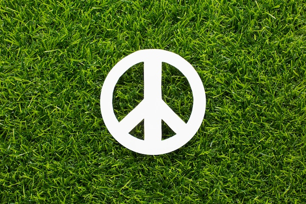 Top view of peace sign on grass Free Photo