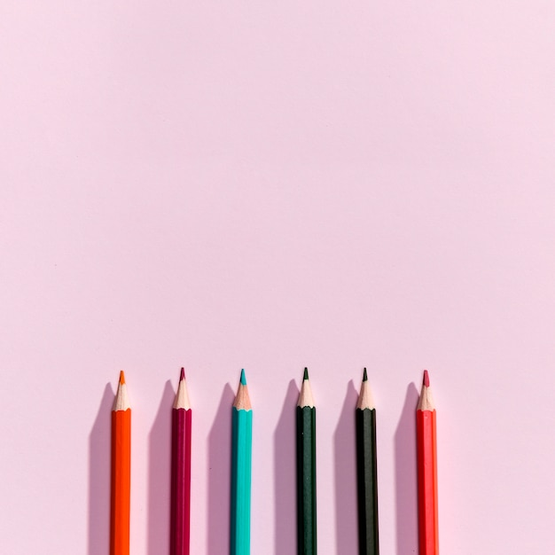Top view of pencils with copyspace Free Photo