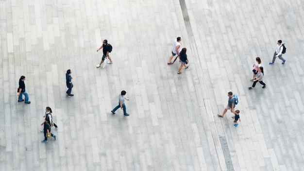 Top view of people walk on business pedestrian street in city Premium Photo