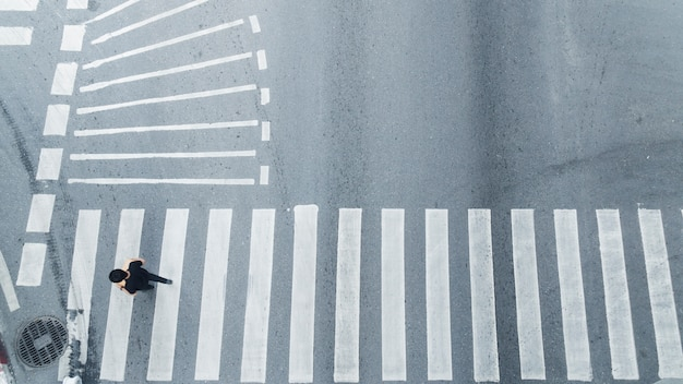 Top view of people walk on street pedestrian crossroad in the city street. Premium Photo