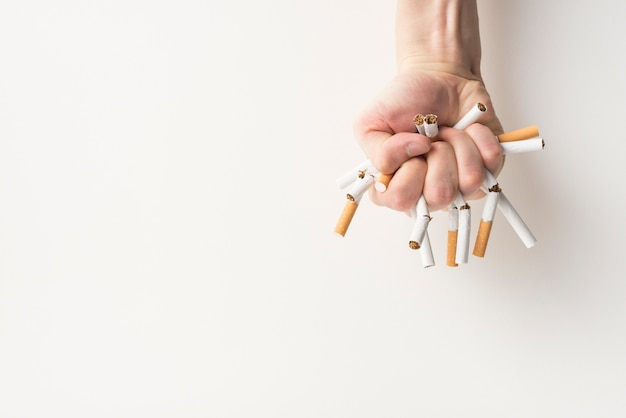Top view of a person's hand holding broken cigarettes over white backdrop Free Photo