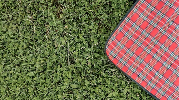 Top view picnic blanket on park grass Free Photo