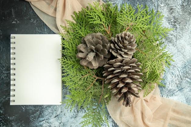 Vista dall'alto pigne rami di pino sul taccuino scialle beige su superficie scura Foto Gratuite