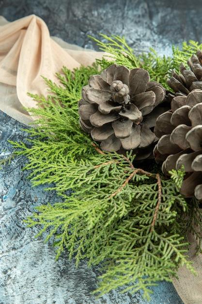 暗い表面のベージュのショールの上面図松の枝 無料写真