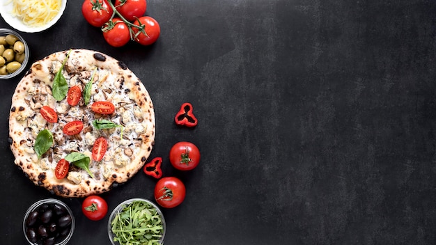 Top view pizza frame on stucco background Premium Photo