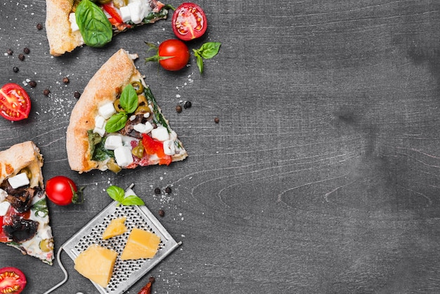Top view pizza frame with vegetables Free Photo