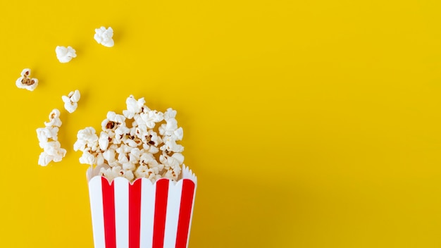 Top view popcorn with copy space Free Photo
