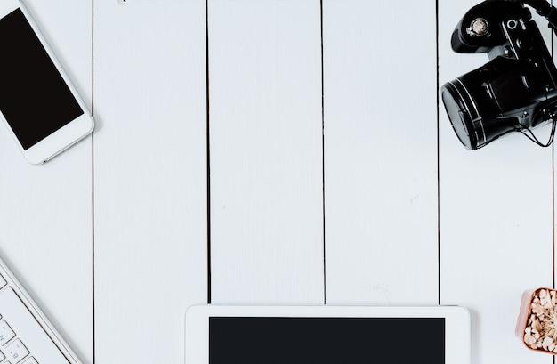 Top view professional modern creative graphic designer white desk. Premium Photo
