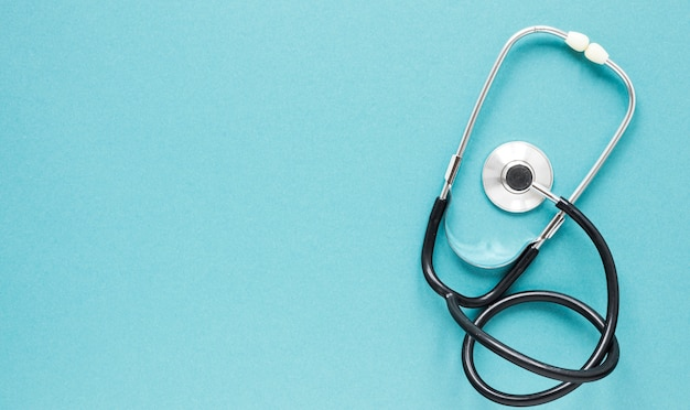 Top view professional stethoscope with copy space Free Photo
