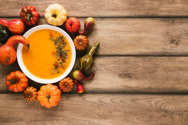 Top view pumpkin soup with copy space Free Photo