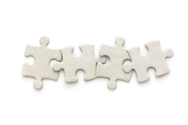 Top view of puzzle jigsaw on white background Premium Photo